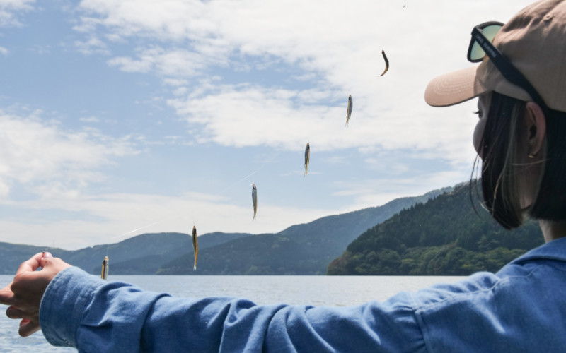 芦ノ湖で紅葉を眺めながら楽しむエサいらずのワカサギ釣り!